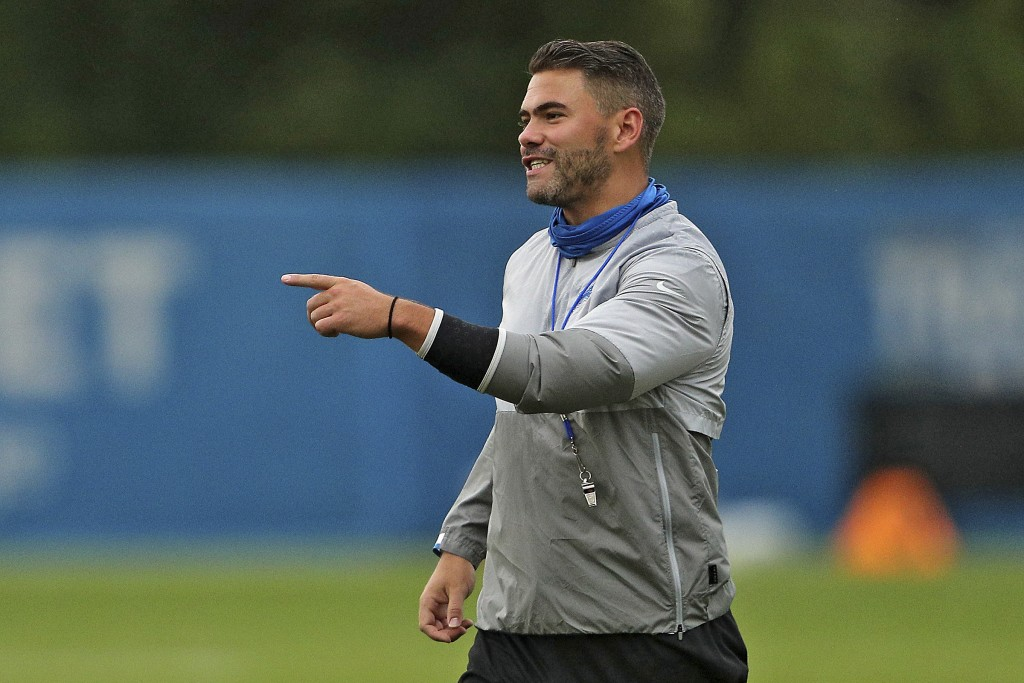 FILE - In this Aug. 26, 2020 file photo, Brayden Coombs of the Detroit Lions directs a drill during an NFL football training camp practice at their te...