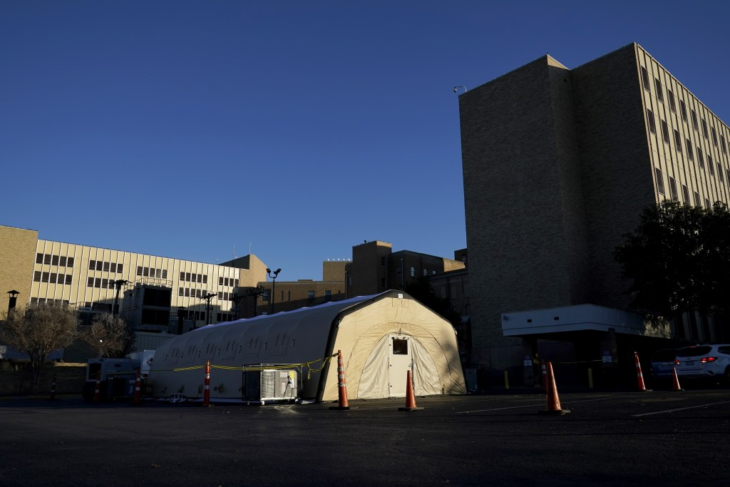 A portable, overflow, intensive care unit, that is currently not being used, is seen located behind Hendrick Medical Center on Wednesday, Dec. 16, 202...