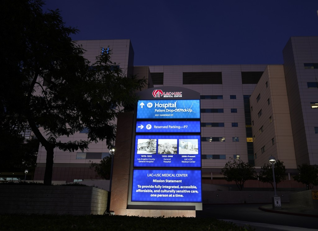 FILE - In this late Wednesday, Dec. 16, 2020, file photo, the Los Angeles County+USC Medical Center's patient drop-off/pick-up area is seen in Los Ang...