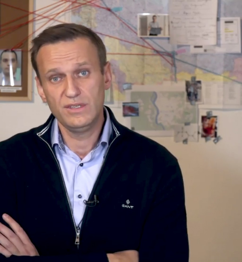 In this image taken from a video released on Dec. 21, 2020 by Russian opposition activist Alexei Navalny on his Instagram account, Russian opposition ...