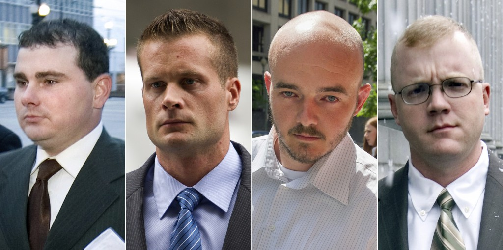 FILE - This combination made from file photo shows Blackwater guards, from left, Dustin Heard, Evan Liberty, Nicholas Slatten and Paul Slough. On Tues...
