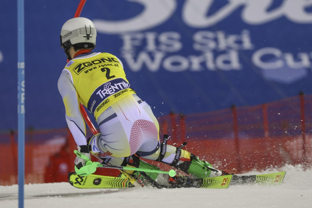 Norway's Sebastian Foss Solevaag speeds down the course during an alpine ski, men's World Cup slalom in Madonna di Campiglio, Italy, Tuesday, Dec. 22,...