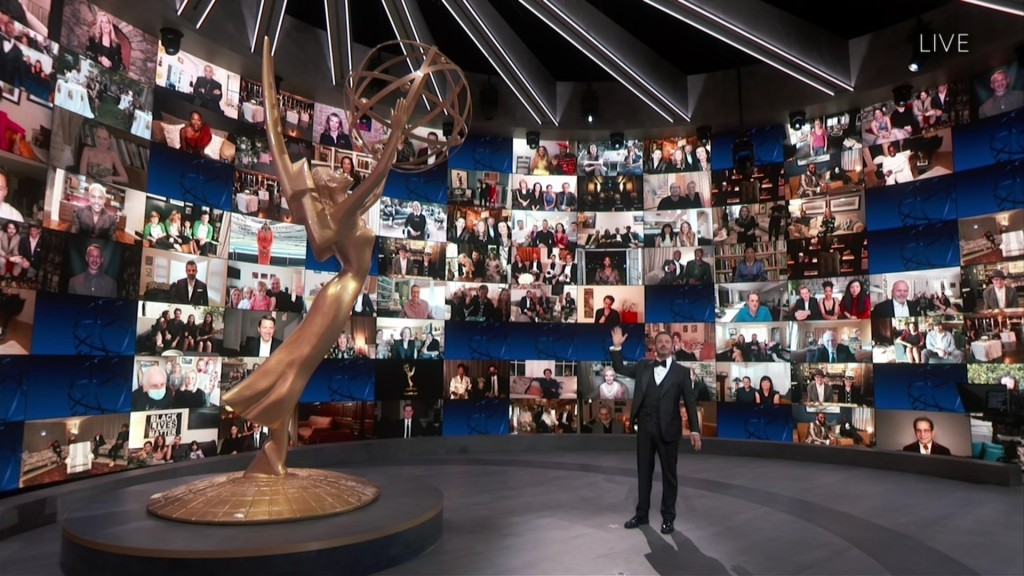This image released by the Television Academy shows host Jimmy Kimmel during the 72nd Emmy Awards telecast on Sept. 20, 2020 (Invision for the Televis...