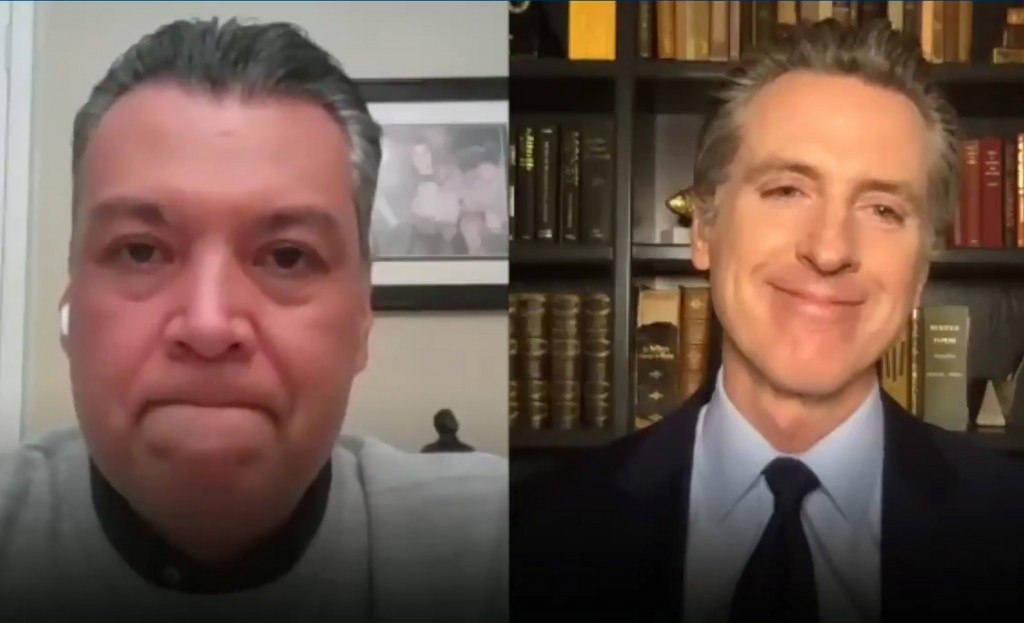 This photo taken from video provided by the Office of the Governor shows California Gov. Gavin Newsom, right during a virtual meeting from his home in...