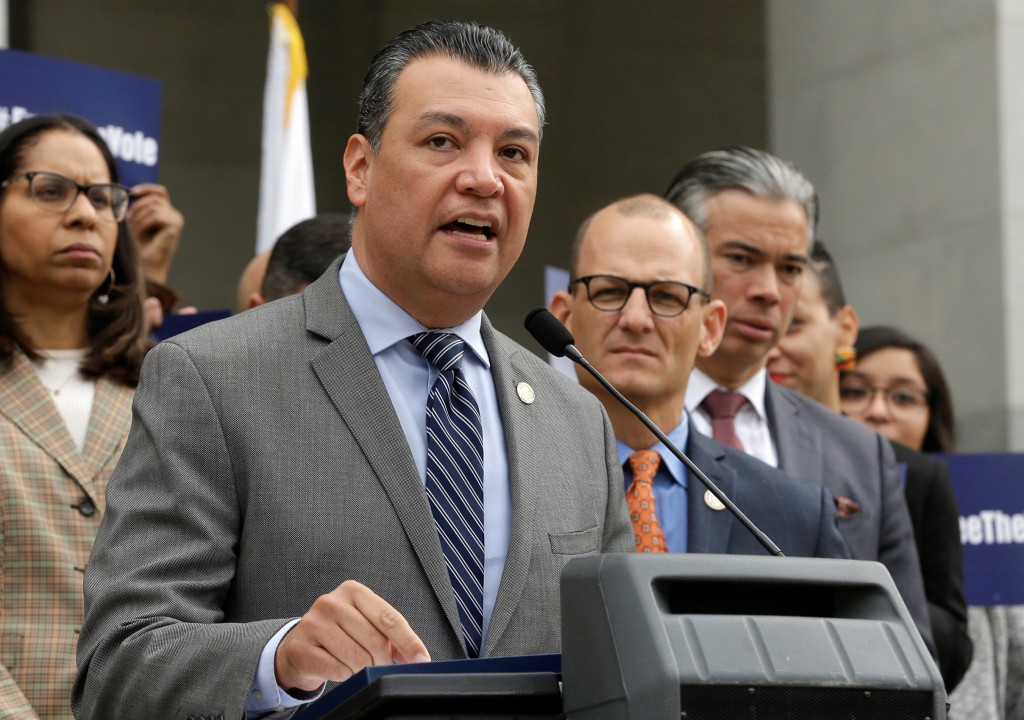 FILE - In this Jan. 28, 2019, file photo, California Secretary of State Alex Padilla talks during a news conference at the Capitol in Sacramento, Cali...