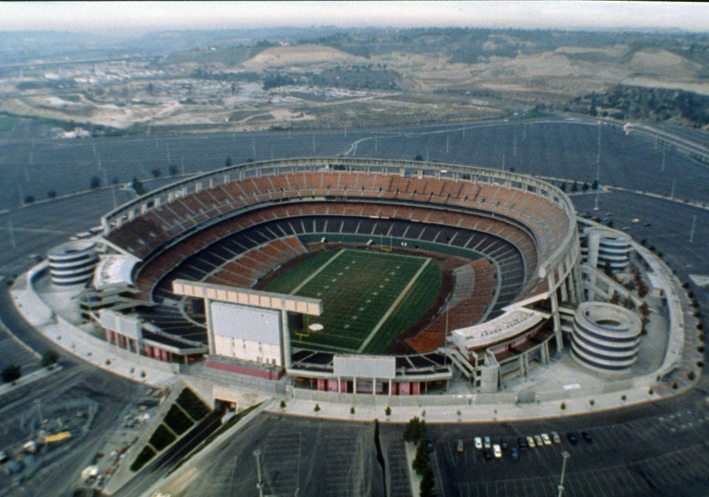 FILE - This 1987 file photo shows an aerial view of Jack Murphy Stadium in San Diego, Calif., site of Super Bowl XXII. Now the stadium is coming to an...