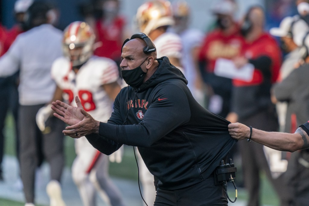 FILE - In this Nov. 1, 2020, file photo, San Francisco 49ers defensive coordinator Robert Saleh cheers on his team from the sideline during the first ...