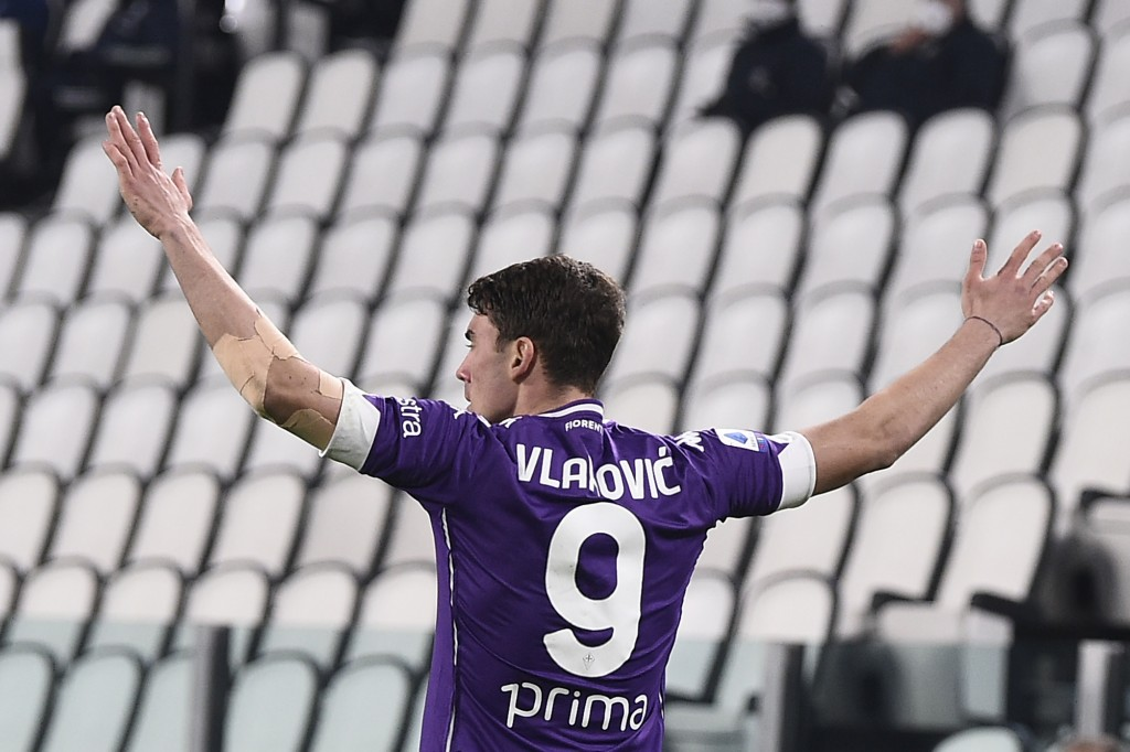 Fiorentina's Dusan Vlahovic celebrates after scoring during the Serie A soccer match between Juventus and Fiorentina, at the Allianz Stadium in Turin,...