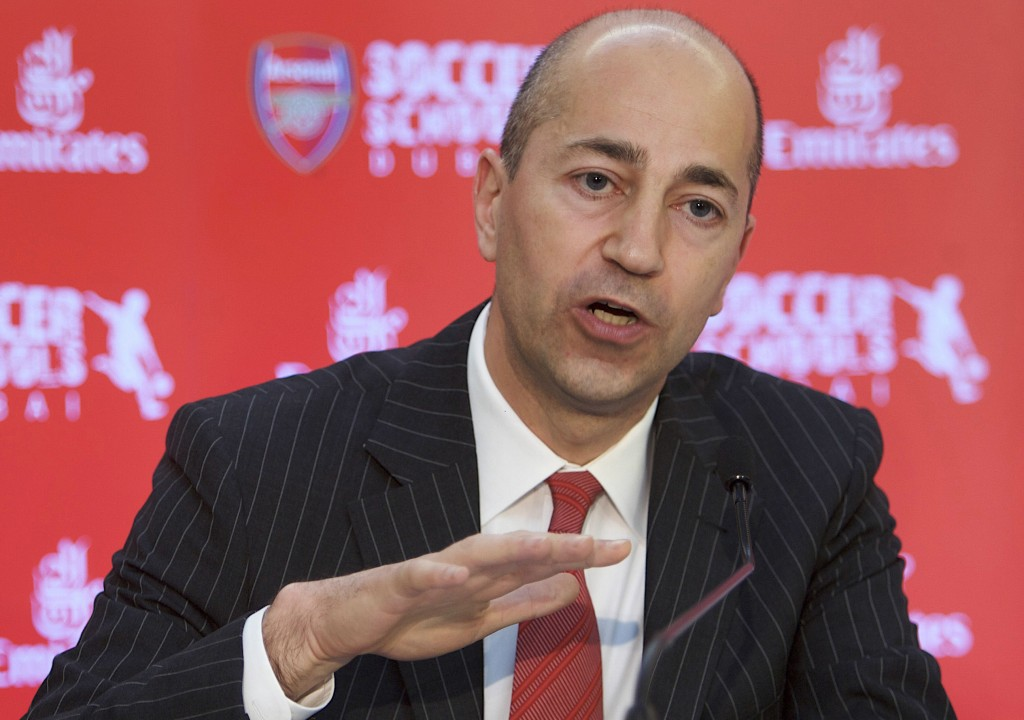 FILE - In this Thursday, May 21, 2009 file photo, Ivan Gazidis, CEO of Arsenal Football Club, speaks during the press conference in Dubai, United Arab...