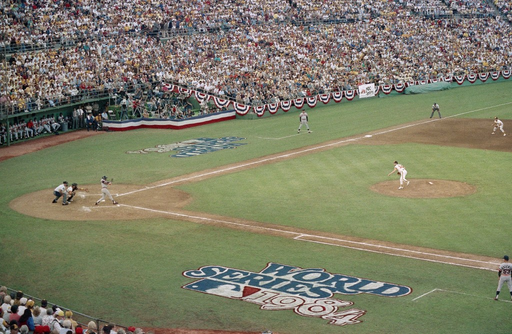 FILE - In this Oct. 9, 1984, file photo, San Diego Padres pitcher Mark Thurmond throws a pitch toward a Detroit Tigers batter in the first inning of t...
