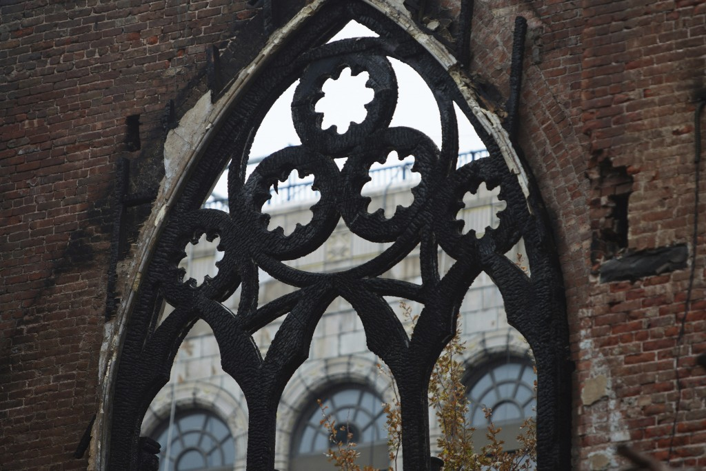 The iron frame that once held Tiffany glass windows in the sanctuary at Middle Collegiate Church is seen in New York on Dec. 14, 2020. After a devasta...