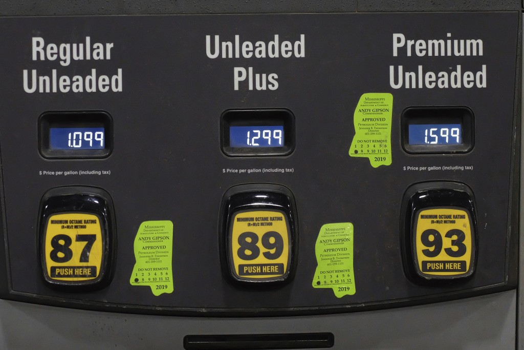 FILE - In this April 26, 2020 file photo, gas prices are shown on a gas pump in Hattiesburg, Miss.   In 2020, the coronavirus pandemic created winners...
