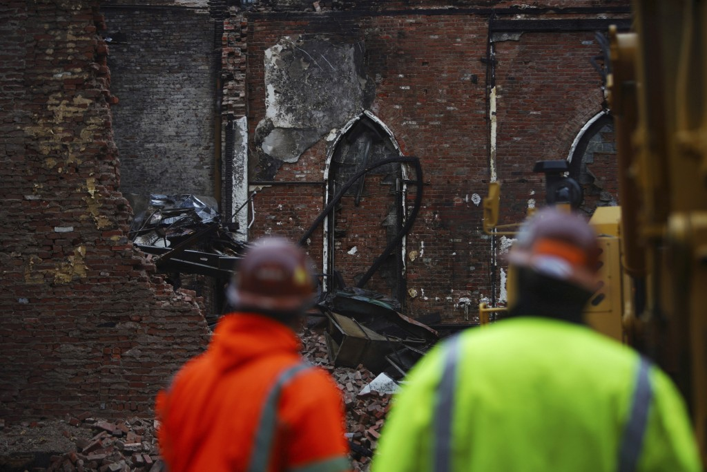The site of Middle Collegiate Church, which was devastated by a fire earlier in the month, is seen in New York on Dec. 14, 2020. The facade and the Ne...
