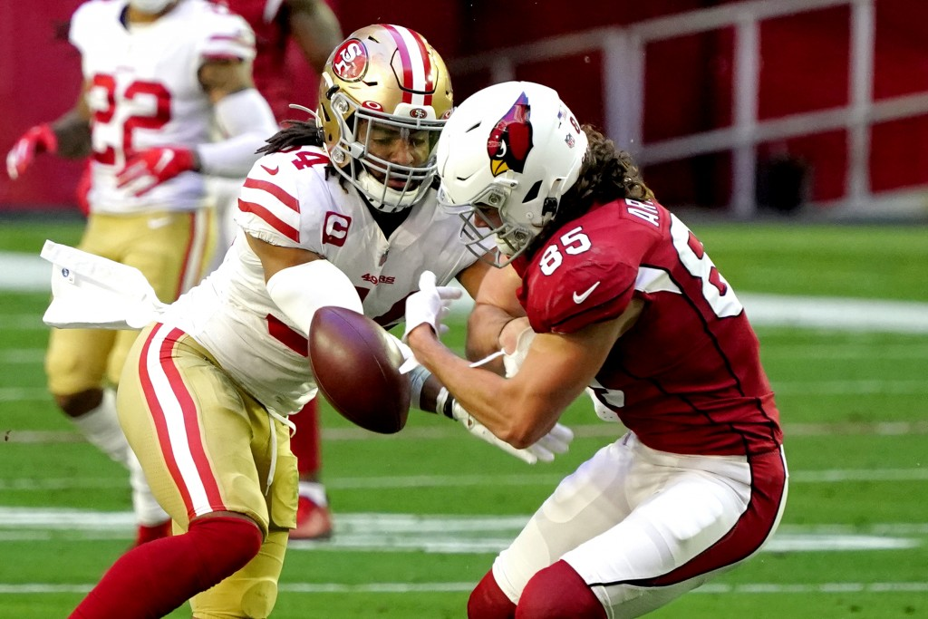 San Francisco 49ers middle linebacker Fred Warner breaks up a pass intended for Arizona Cardinals tight end Dan Arnold (85) during the first half of a...