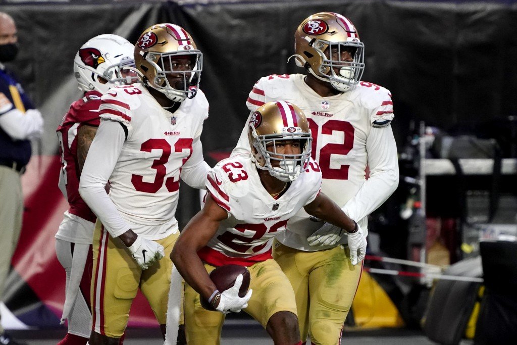 San Francisco 49ers cornerback Ahkello Witherspoon (23) celebrates his interception against the Arizona Cardinals during the second half of an NFL foo...
