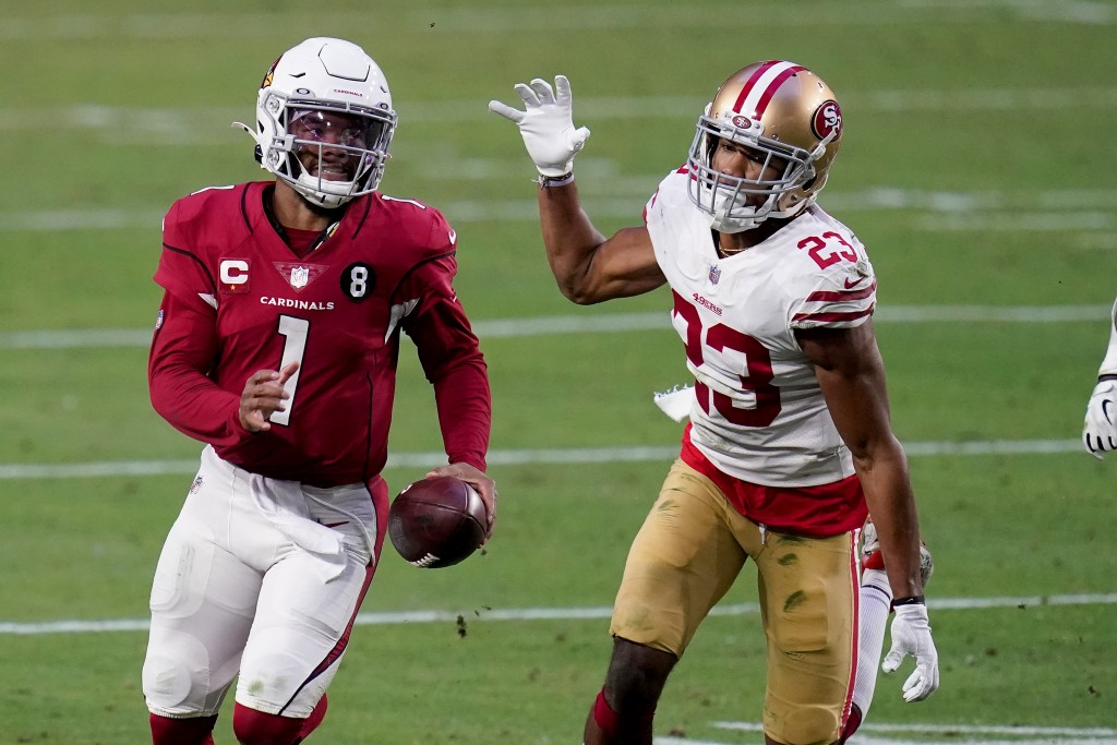 Arizona Cardinals quarterback Kyler Murray (1) runs as San Francisco 49ers cornerback Ahkello Witherspoon (23) defends during the second half of an NF...