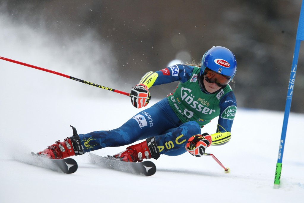 United States' Mikaela Shiffrin speeds down the course during an alpine ski, women's World Cup giant slalom, in Semmering, Austria, Monday, Dec. 28, 2...