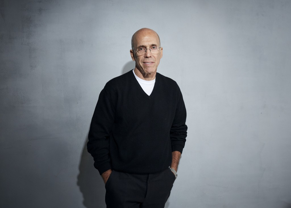 """FILE - In this Jan. 24, 2020 file photo, Jeffrey Katzenberg poses for a portrait to promote """"Quibi"""" at the Music Lodge during the Sundance Film Festiv..."""