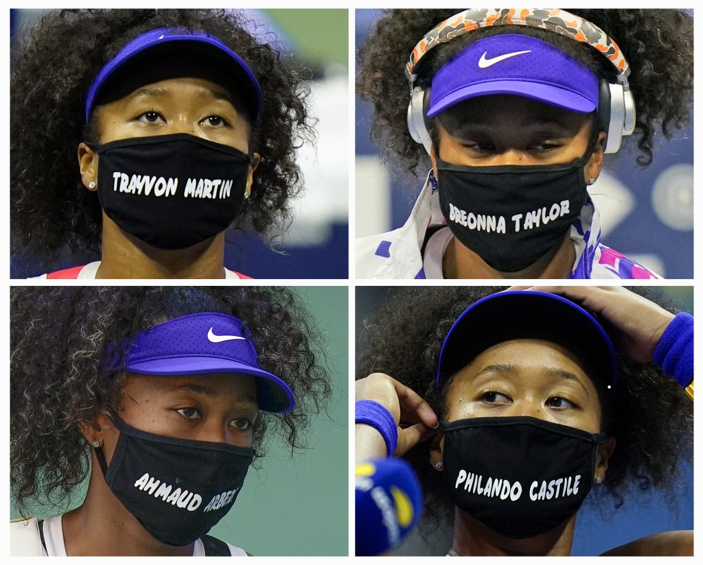 FILE- In this combo of 2020 file photos, Naomi Osaka, of Japan, wears face masks bearing the names of Black victims of police violence and racial prof...