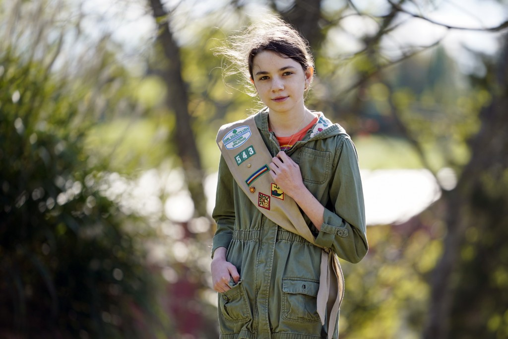 Olivia Chaffin, 14, stands for a portrait with her Girl Scout sash in Jonesborough, Tenn., on Sunday, Nov. 1, 2020. Olivia is asking Girl Scouts acros...