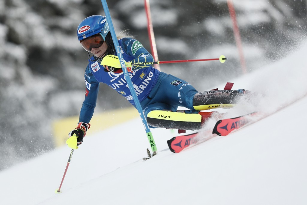 United States' Mikaela Shiffrin speeds down the course during an alpine ski, women's World Cup slalom, in Semmering, Austria, Tuesday, Dec. 29, 2020. ...