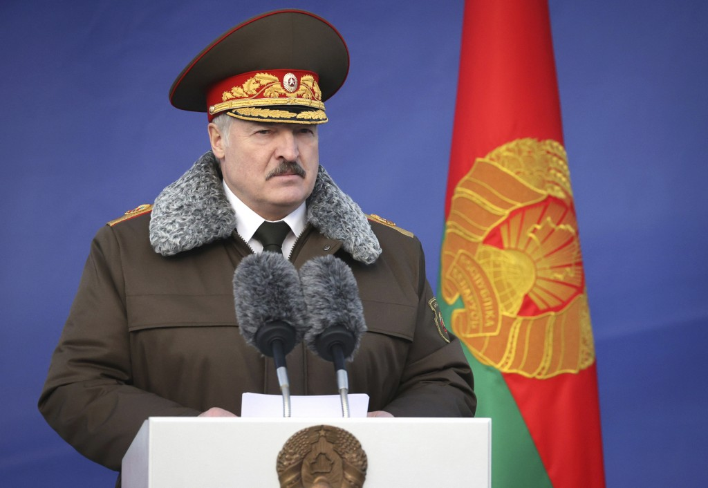 Belarusian President Alexander Lukashenko delivers his speech as he visits the Belarusian Interior Ministry special forces base in Minsk, Belarus, Wed...