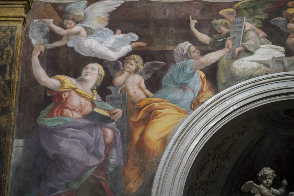 "A detail of the 1514 fresco ""Sybils receiving instruction from Angels"" by Italian High Renaissance master painter Raffaello Sanzio, known as Raphael, ..."