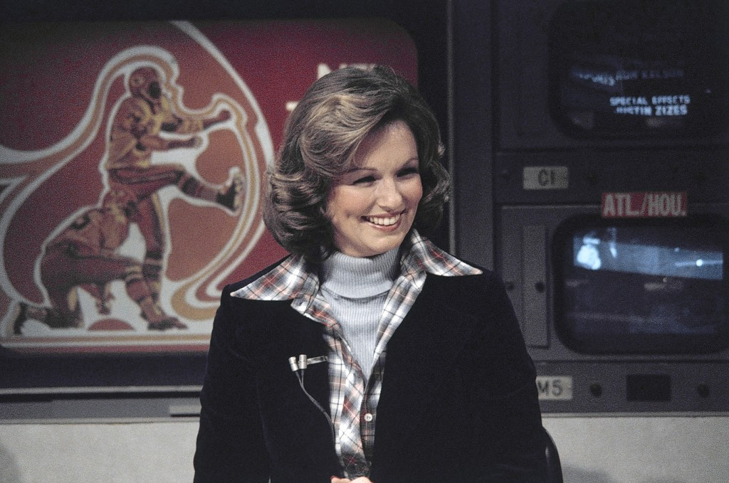 FILE - In this Nov. 28, 1976, file photo, CBS sportscaster Phyllis George is seen in New York. Sports in 2020 was an unending state of mourning. It wa...