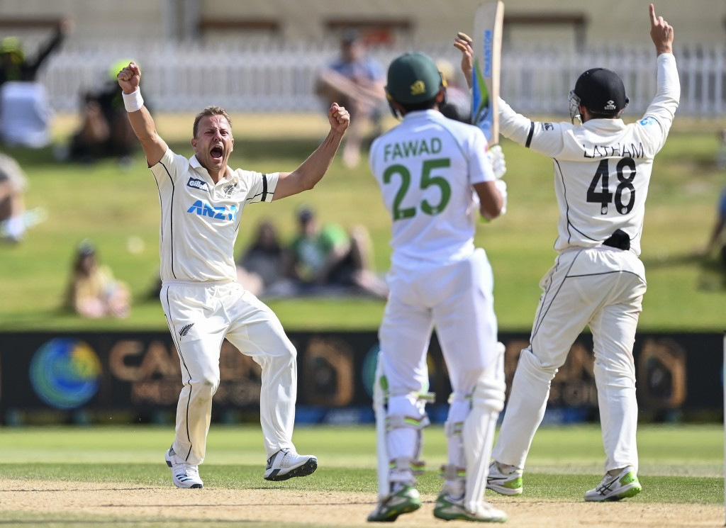 New Zealand bowler Neil Wagner celebrates the wicket of Pakistan's Fawad Alam during play on the final day of the first cricket test between Pakistan ...