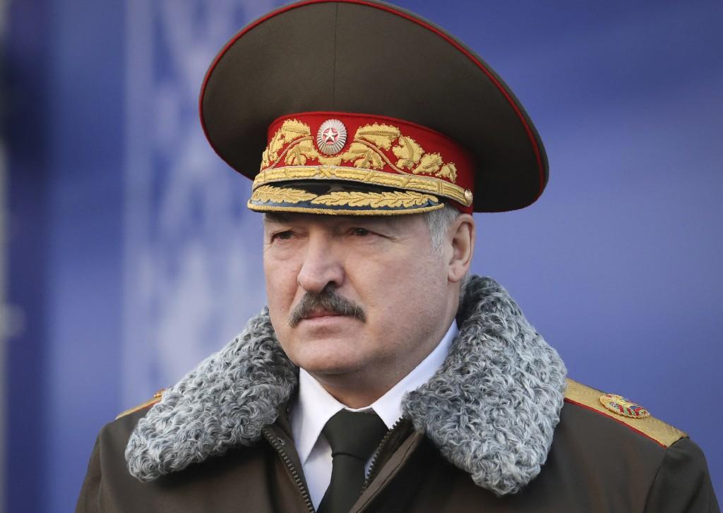 Belarusian President Alexander Lukashenko seen as he visits the Belarusian Interior Ministry special forces base in Minsk, Belarus, Wednesday, Dec. 30...