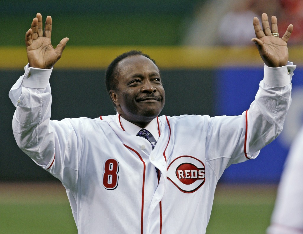FILE - Cincinnati Reds Hall of Fame second baseman Joe Morgan acknowledges the crowd after throwing out a ceremonial first pitch prior to the Reds' ba...