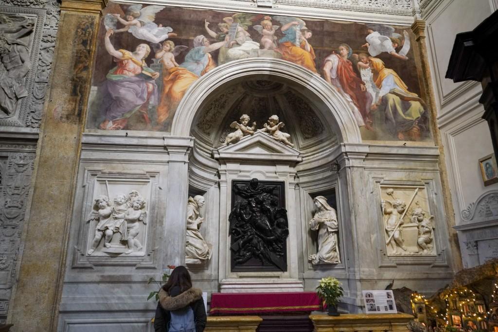 "A woman admires the 1514 fresco ""Sybils receiving instruction from Angels"" by Italian High Renaissance master painter Raffaello Sanzio, known as Rapha..."