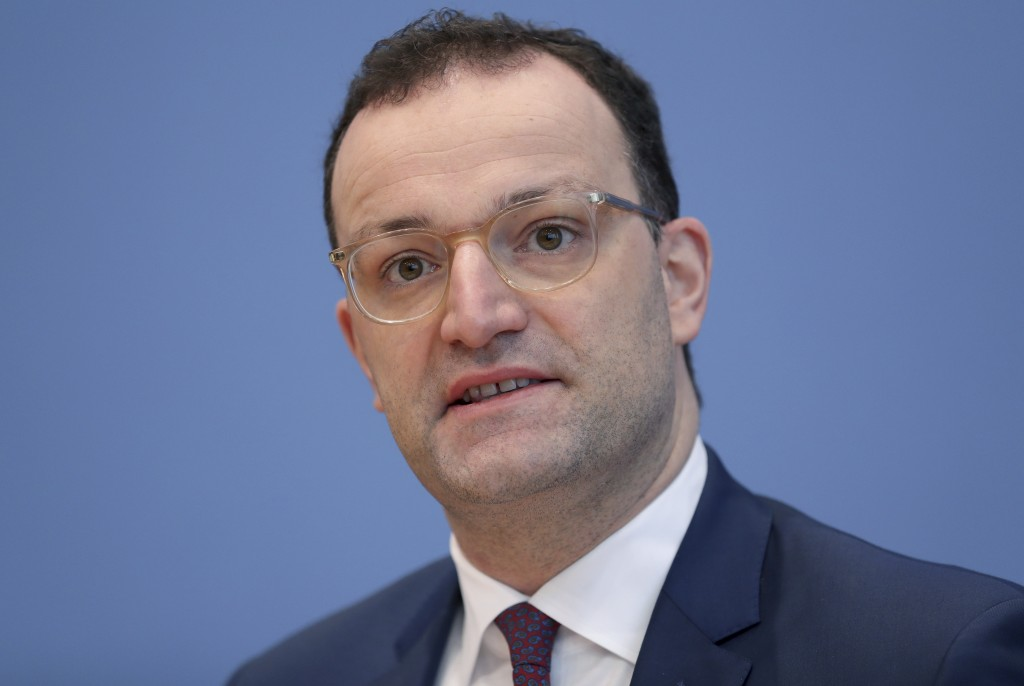 German Health Minister Jens Spahn  addresses the media during a press conference in Berlin, Germany, Wednesday, Dec. 30, 2020 on the new coronavirus, ...