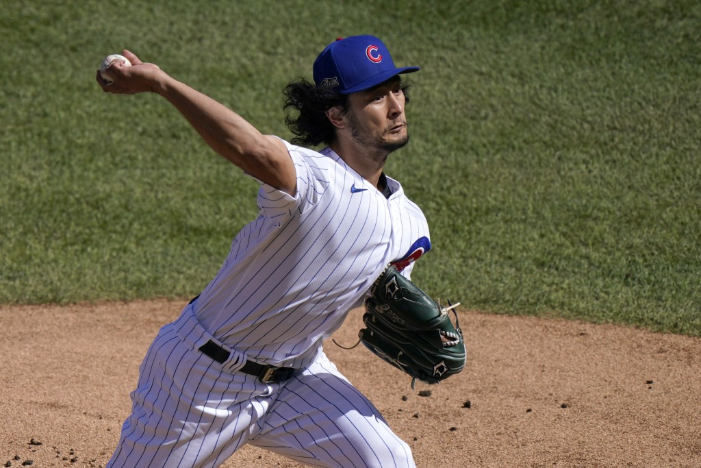 FILE - In this Oct. 2, 2020, file photo, Chicago Cubs starting pitcher Yu Darvish throws during the first inning in Game 2 of the team's NL wild-card ...
