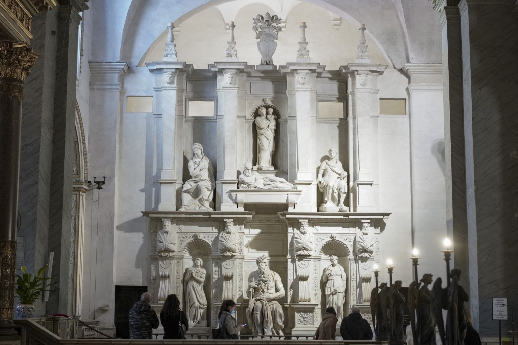 Visitors admire the tomb of Pope Julius II, with the central marble statue of Mosè, made by Italian sculptor Michelangelo Buonarroti between 1505 and ...