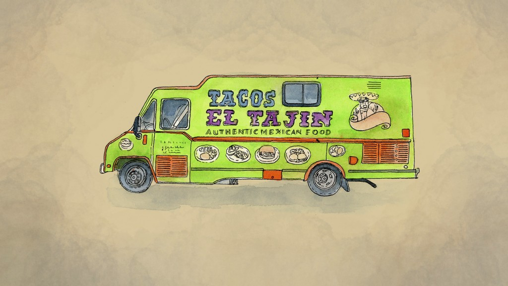 An illustration made from a photo of Tomas Lopez's taco truck.  (AP Illustration/Peter Hamlin)