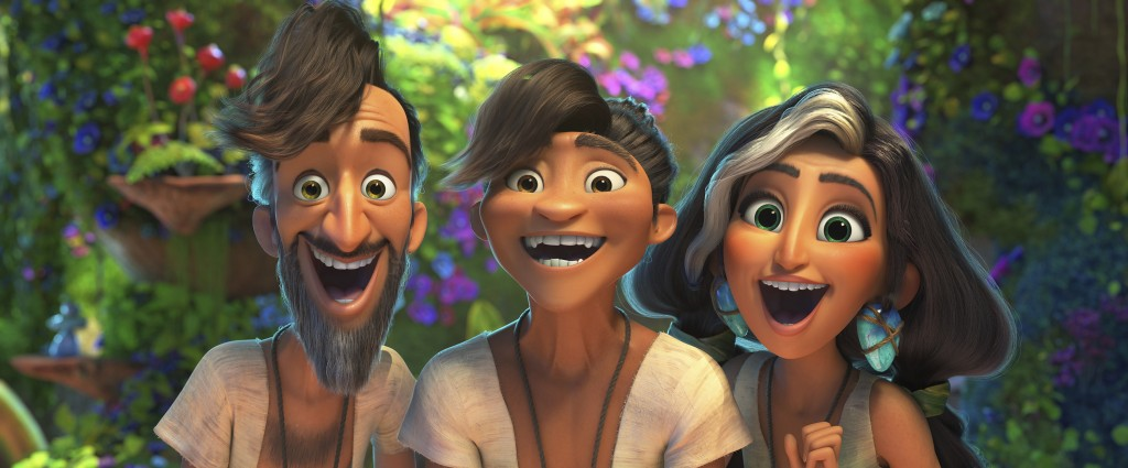 In this image provided by DreamWorks Animation, Phil Betterman, from left, (Peter Dinklage), Guy (Ryan Reynolds) and Hope Betterman (Leslie Mann) in a...