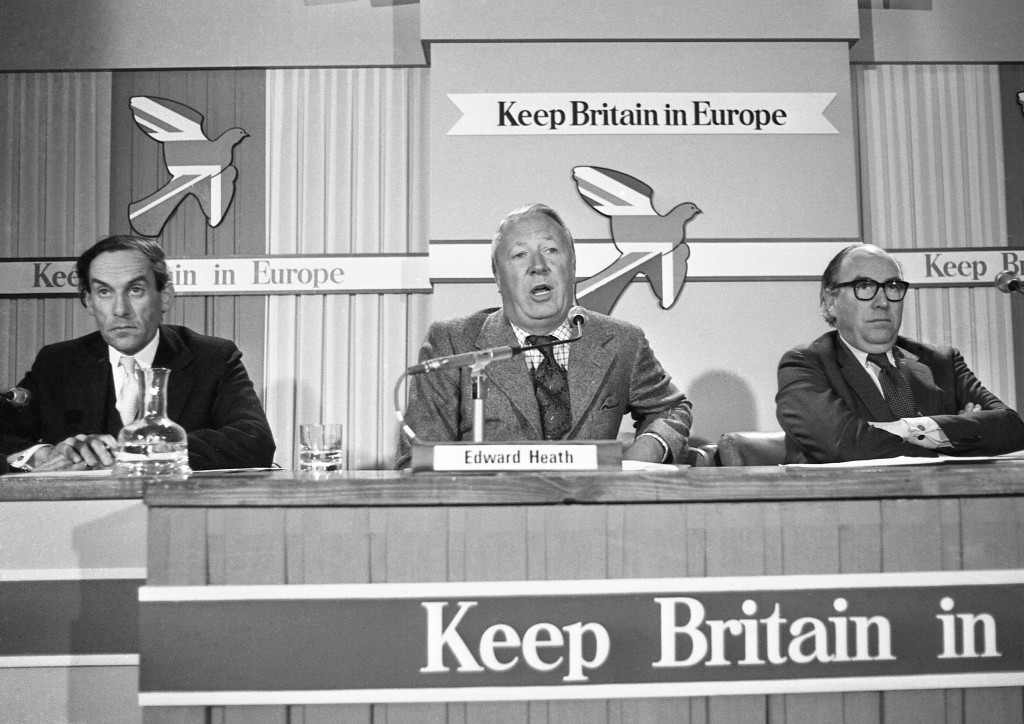 FILE - In this May 13, 1975 file photo, Edward Heath, former leader of the Conservative Party, center, with Jeremy Thorpe, leader of the Liberal Party...