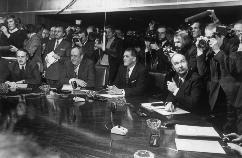 FILE - In this Jan. 6, 1973 file photo, from left, France's Jean Francois Deniau; Britain's Christopher Soames; Wilhelm Haferkamp of West Germany; and...