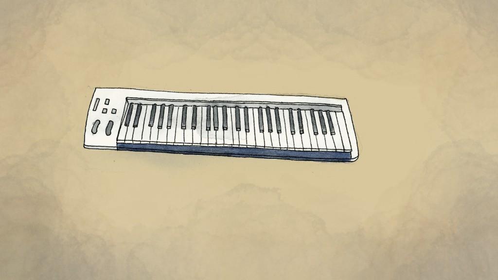 An illustration made from a photo provided by Tri Novia Septiani of Michael Robert Marampe's keyboard. (AP Illustration/Peter Hamlin)