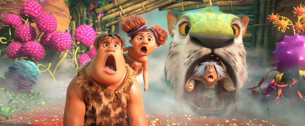 In this image provided by DreamWorks Animation, is Thunk Crood, from left, (Clark Duke), Sandy Crood (Kailey Crawford) and Gran (Cloris Leachman) in D...