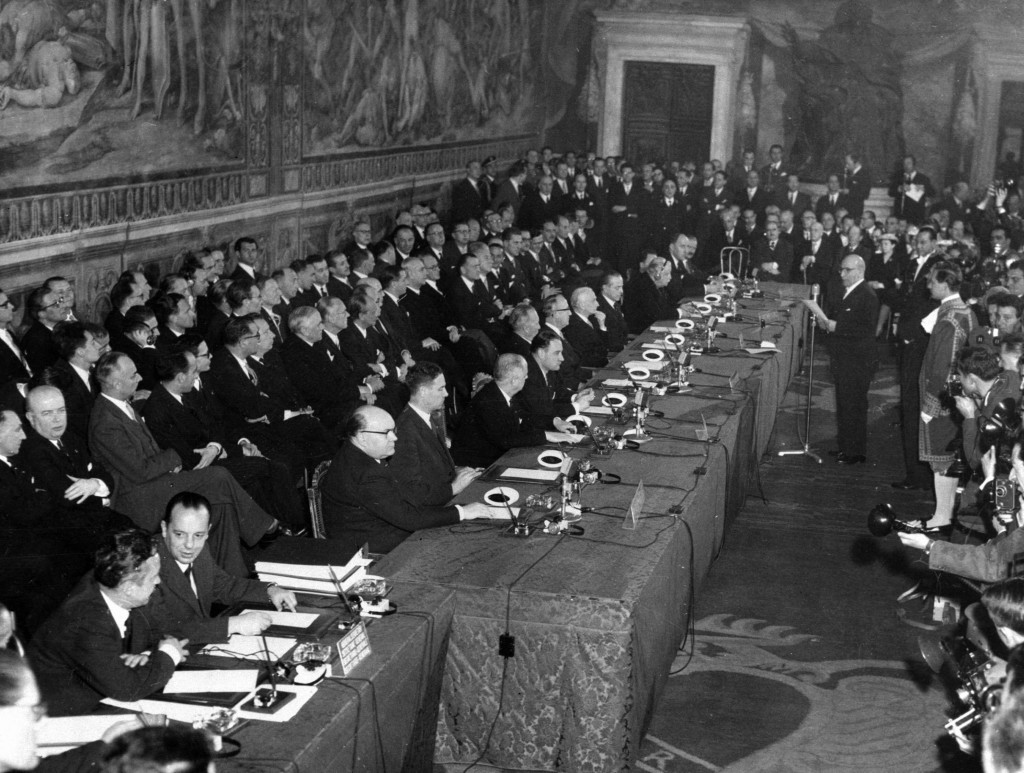 FILE - In this March 25, 1957 file photo, then Mayor of Rome Umberto Tupini, standing at center right, addresses delegates of six west European Nation...