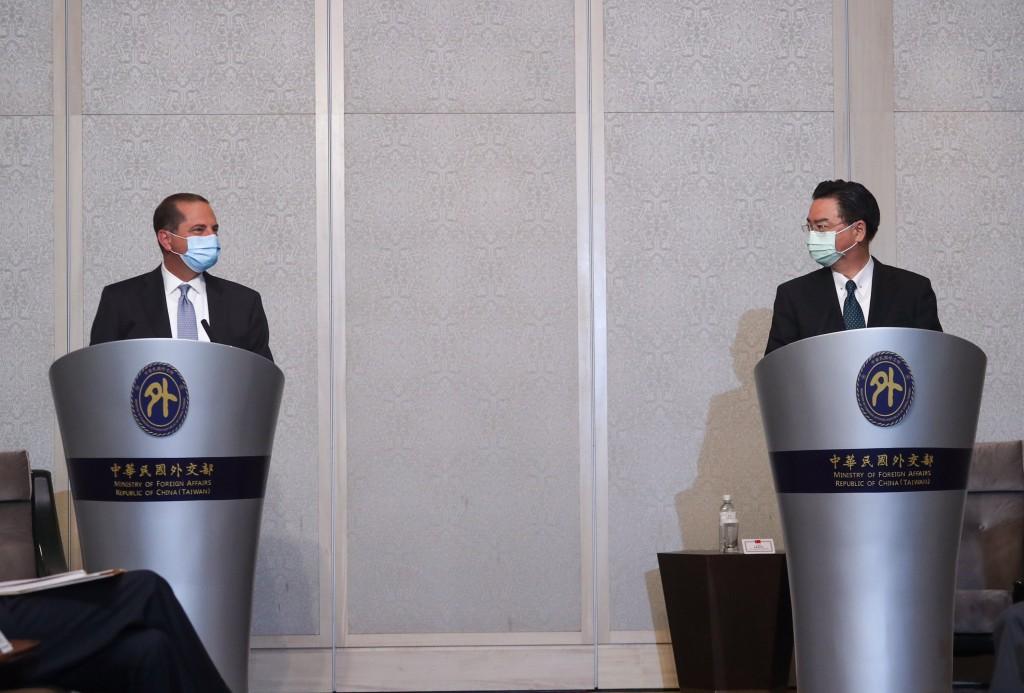 U.S. Health SecretaryAlex Azar (left) meets with Taiwanese Foreign Minister Joseph Wu on Aug. 11.