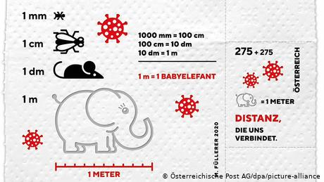 The stamp shows a drawingof a baby elephant to indicate the one-meter social distancing advice used in Austria