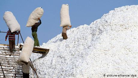 Workers dealing with collected cotton in China's Xinjiang in 2006