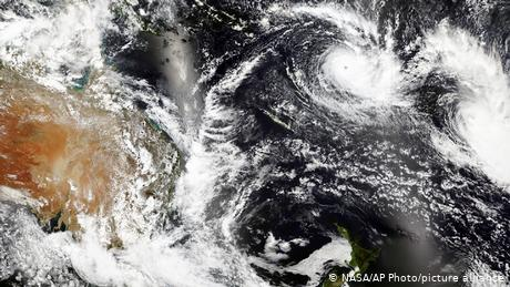 A satellite image released by NASA shows Cyclone Yasa over Fiji earlier this week