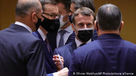 Macron (center) met with EU leaders at a summit in Brussels last week