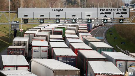 Trucks have been building up on the motorways to the Eurotunnel terminal and Dover