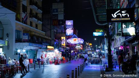 An empty looking Khaosan Road in Bangkok