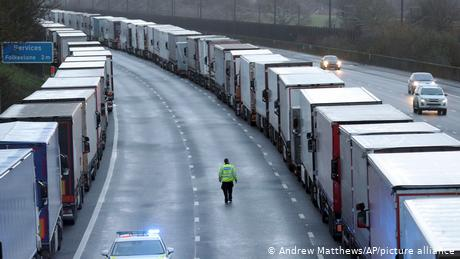 Hundreds of trucks are stuck leading up to the Port of Dover after France closed its border to the UK